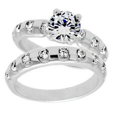 925 Sterling Silver 1.60 Carat CZ Bubble Engagement Ring Wedding Band Set