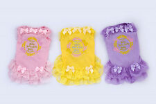 New Small Pet Dog Clothes Apparel Bowtie Lace Skirt Pearl Princess Summer Dress