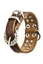 Dog Accessories Double Rhinestone Lined Collar Brown