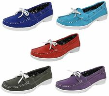 Womens Ladies Real Suede Leather Boat Deck Shoes Loafers Size 3 4 5 6 7 8