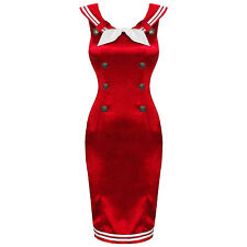 Ladies New 1950s Vintage Bright Red Sailor Girl Pencil Wiggle Dress