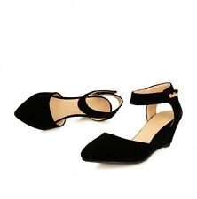 New Faux suede Wedge Heel Women Shoes Sandals Strap Slingbacks AU Size s429