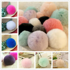 Hot 8cm Luxury Warm Soft Real REX Rabbit Fluffy Fur Ball Key Chain Car Pendant