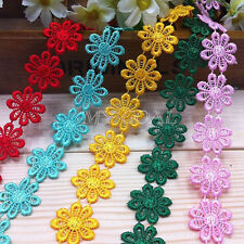2 Yard Delicate Polyester Flower Embroidered Applique Lace Trim Sewing DIY Craft