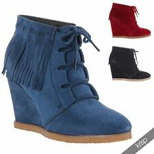 Womens Ladies Fringe Tassel Boho Minnetonka Lace Up Ankle Boots Wedge Heel Shoes