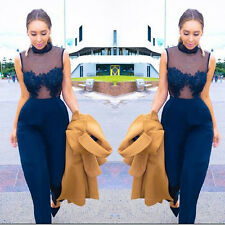 Sexy Women Lace Sleeveless Bodycon Backless Jumpsuit Romper Trousers Clubwear