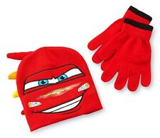CARS LIGHTNING McQUEEN DISNEY Boys Knit Mohawk Beanie Hat & Gloves Set NWT  $20