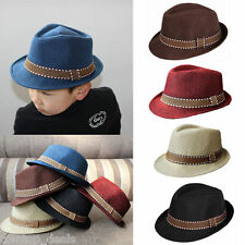 Boys Girls Fedora Hat Bowler Jazz Trilby Upturned Brim Chic Gangster Baby Cap
