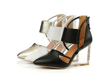 Womens Fashion Pointy Toe High Wedge Heel Sexy New Ankle Strap Party Pumps Shoes