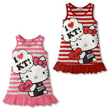 Kids Baby Girls Cartoon Tops Clothes Sleeveless vest Party Red/Pink Dress 1-6Y