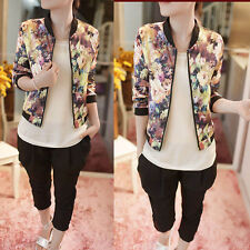 1PC Women Stand Collar Long Sleeve Zipper Floral Printed Bomber Jacket Free P&P