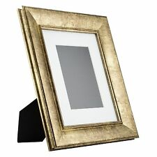 Verandah Table-Top 8x10 Vintage Aged Gold Standing Picture Frame with Mat