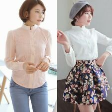 Chic Floral Lace Stand Collar Chiffon Women's Clothing Shirt Blouse Tops Buttons