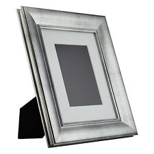 Verandah Table-Top 8x10 Vintage Brushed Silver Standing Picture Frame with Mat