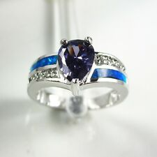 Women Amethyst & Blue Fire Opal 18K White Gold Filled Ring Size 7-8 #A0506