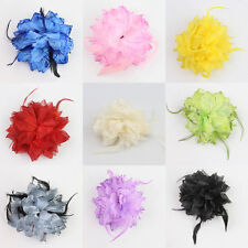 Flower Feather Corsage Brooch Pin Hair Clips Fascinator Hairband Flower and Pin