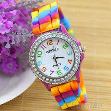 Women's Geneva Rhinestone Inlaid Case Rainbow Color Silicon Band Wrist Watch