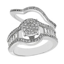 925 Sterling Silver 1.85 Carat CZ Engagement Ring Wedding Band Set