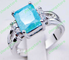 Size 7/8/9 Blue AAA Ice Zircon Wedding Ring Women's 10KT White Gold Filled Party