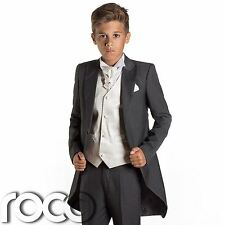 Boys Grey Tail Suit, Ivory Waistcoat, Page Boy Suits, Wedding Suits, Boys Suits