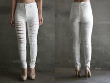 WHITE (91) RIPPED JEANS BACK Skinny Denim Stretch Destroyed Distressed Sexy 1-13