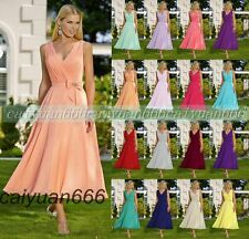 Short V-neck Tea Length Formal Evening Ball Gowns Party Prom Bridesmaid Dress