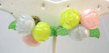 VINTAGE PLASTIC PASTEL COLORED ROSE SCREW ON EARRINGS **