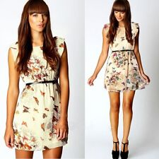 Fashion Women Summer Butterfly Print Chiffon Dress With Belt Clothes T56S