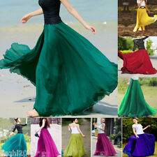 Summer Womens Elastic Waist Band Dress Fashion Sexy Chiffon Long Maxi Skirt 6-20