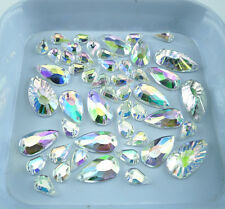 Flat faceted water drop Clear AB Acrylic Crystal Diamante Rhinestones sew