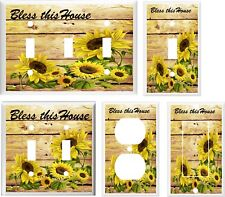 SUNFLOWER BLESS THIS HOUSE  LIGHT SWITCH COVER PLATE K1  U PICK PLATE SIZE