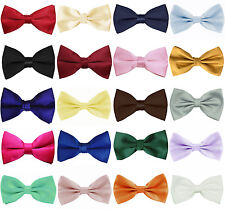 BABIES INFANT SILKY SATIN PRE-TIED BOW TIES 30 COLOURS WEDDING BRIDAL OCCASIONS