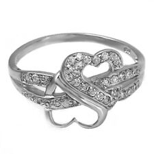 Sterling Silver Infinity ring CZ Round cut Heart Eternity Love size 4-11 New 925