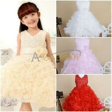 Girls Pageant Wedding Bridesmaid Party Ball Prom Princess Formal Organza Dress
