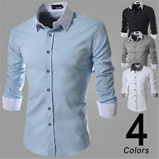Fashion Mens Slim Fit Long Sleeve Button Down Casual Suit Luxury Dress Shirt Top