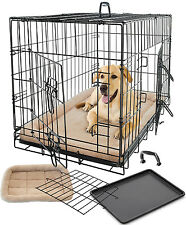 Pet Dog Cat Cage Crate Kennel and Bed Cushion Pad Warm Soft Cozy House Kit Combo