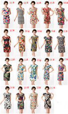 fashion Middle-aged and old Women's wear floral Big yard short sleeves Dresses