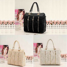 Fashion Women's Faux Leather Messenger Bag Tote Shoppers Purses Lace Handbag