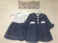 Bonnie Jean Girls Navy White Jacquard Spring Summer Dress & Coat 12M 18M 24M New