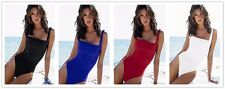 Women Sexy Padded Sling Connected Solid Briefs Bikini Bathing Swimwear Suits
