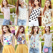 Style Korean Women Sleeveless Floral Vest Tank Chiffon Tops Blouse T shirt Hot