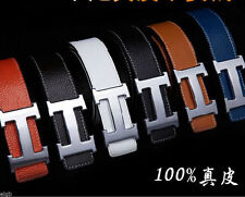 H Logo Belt 100% Genuine Cowhide Leather Metal Buckle Men's Casual Dress Belt
