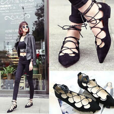 Summer Beach Low Shoes Women Sexy Pointed Toe Roma Flat  Sandals Lace Up  Shoes