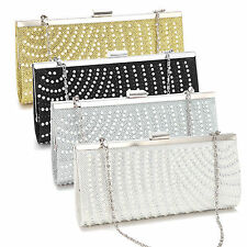 Vintage Glitter Beads Pearl Satin Wedding Clutch Bag Evening Purse Shoulder Bag