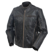 Men's Mossi Drifter Leather Jacket - Motorcycle - Black Leather