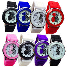 2015 New Fashion Women Girl Bear Analog Quartz Wrist Geneva Watch Silicone Watch