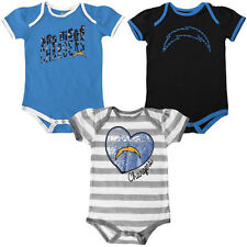 San Diego Chargers Infant Girl's Field Goal Creeper Set - Gray