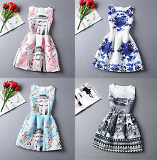 New Fashion Womens TuTu A Line Vintage Dress Digital Evening Party Print Skirt