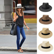 Men Women Fedora Wide Brim Straw Trilby Cap Unisex Panama Summer Beach Sun Hat
