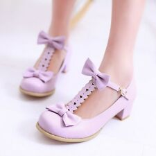 Top New Womens Low Heels Comfort BOW-Tie Loafers Cute Sandals Shoes Plus Size
